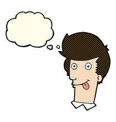 Cartoon man with tongue hanging out with thought vector