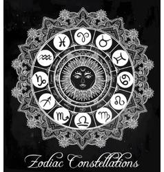 Hand drawn line art of zodiac set with sun vector image