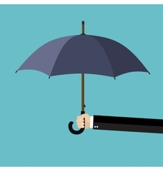 Businessman hand holding an umbrella vector