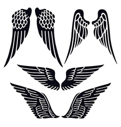 Angel wings set silhouette vector