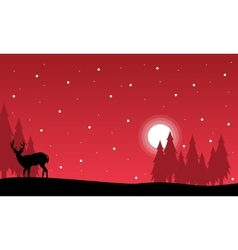 At night christmas landscape with reindeer vector