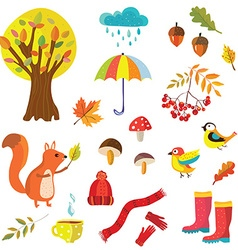 Autumn collection with nature elements and animals vector