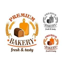 Bakery shop emblem with rye bread loaf vector image vector image