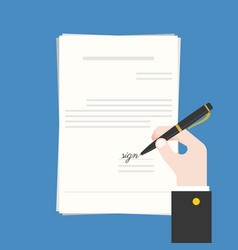 Business hand holding ink pen signing contract vector