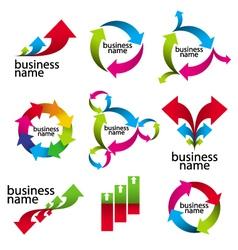 Collection of logos the arrows and diagram vector