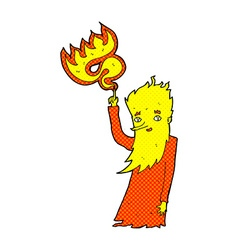 Comic cartoon fire spirit vector