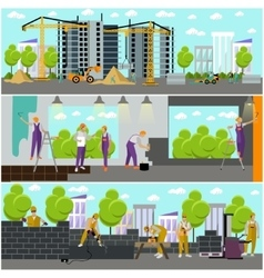 Construction site concept banner Building vector image vector image