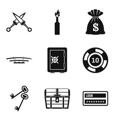 Criminal offence icons set simple style vector