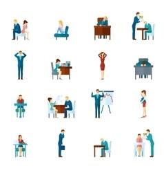 Depression flat icons set vector
