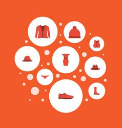 Flat icons sundress waistcoat fedora and other vector