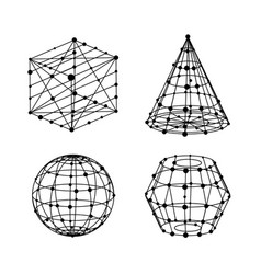geometry wireframe shapes set cube pyramid ball vector image vector image