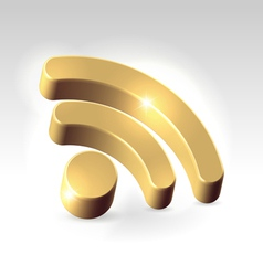 Golden RSS feed icon vector image vector image
