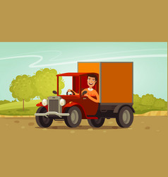 happy driver rides in retro truck delivery vector image