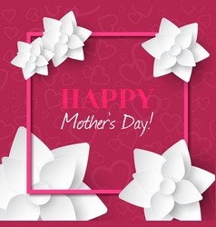 Happy mothers daygreeting card with white flowers vector