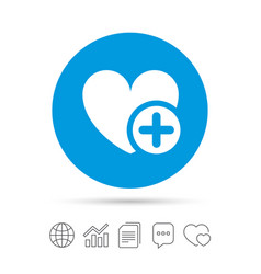 Heart sign icon add lover symbol vector