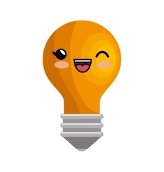 kawaii bulb idea imagination icon design vector image