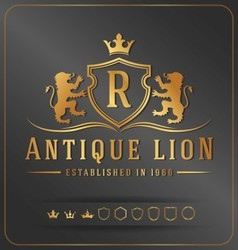 Luxurious lions royal crest design template vector