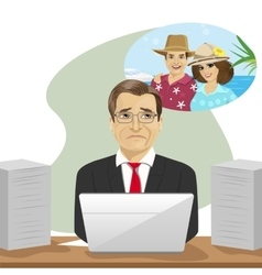 Mature businessman dreams about vacation vector