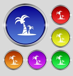 Paml icon sign round symbol on bright colourful vector