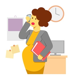 Pregnant woman working vector