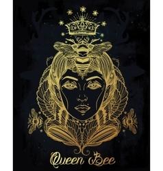 Queen Bee portriat as a woman art vector image