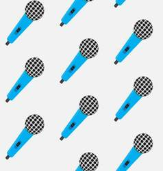 Seamless pattern vintage color microphone vector