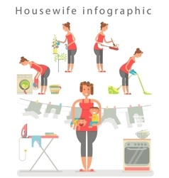 Set of housewifes in cartoon style vector image vector image