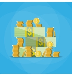 Stacks of cash with a pile gold coins vector image vector image