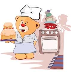 stuffed toy bear cub and pie cartoon vector image vector image