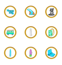 Surfing trip icons set cartoon style vector