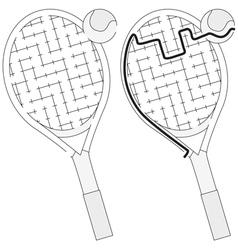 Tennis racket maze vector image