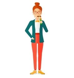 Woman smoking cigar vector image