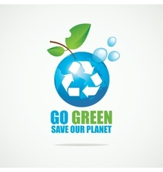 Planet earth with recycling sign vector