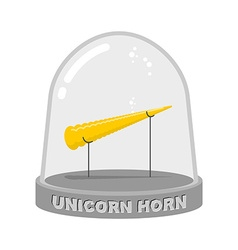 Unicorn horn in glass bell fairy rainbow artifact vector