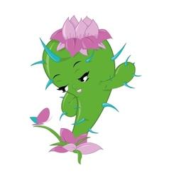 character beautiful cactus vector image