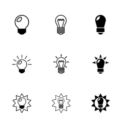 Black bulbs icon set vector