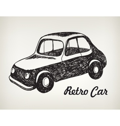 Doodle black and white hand drawn retro car vector