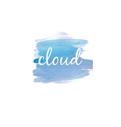 Watercolor stain with text cloud vector