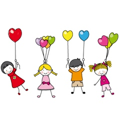 children playing with balloons vector image