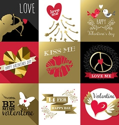 Saint valentines day card label set gold retro vector
