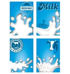 Set of patterns with milk dairy jet sprays vector