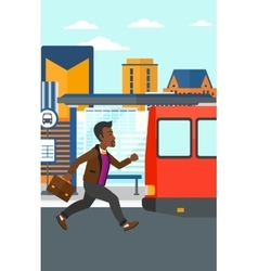 Man missing bus vector