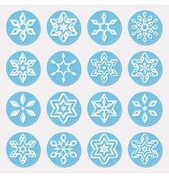 Set of sixteen blue shades snowflake ornaments vector