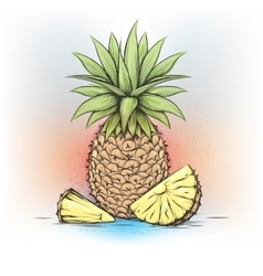 Colorful watercolor pineapple vector