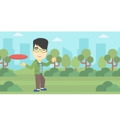 Man playing flying disc vector