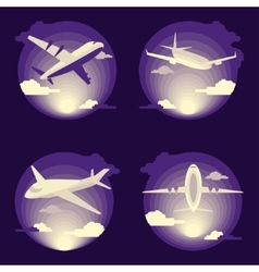 Airplane set in flat design vector