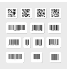Bar and qr codes on white stickers set vector