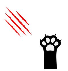 Black cat paw print leg foot bloody claws vector
