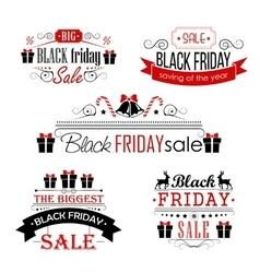 Black friday sale calligraphic designs set on vector