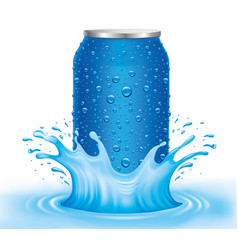 blue tin can with water drops standing in water vector image